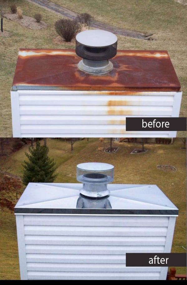 Chimney Chase Cover Before & After