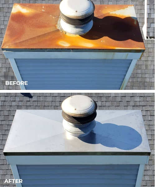 Before and After Chimney Chase Cap